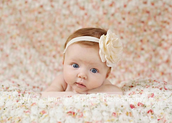 Ivory Headband - Cream Flower Headband - Newborn Photo Prop -  Silk Flower Headband - Baby Headband
