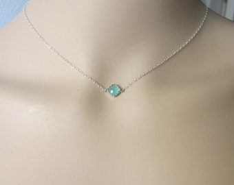 Tiny Mint Necklace, silver necklace, dainty necklace, delicate necklace, aqua blue necklace, layered Simple Necklace, Minimalist Jewelry.