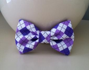 Dog Bow Tie- Purple Argyle