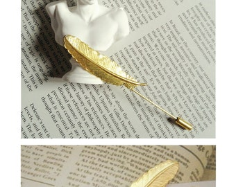SERENDIPITY COLLECTION-  Handmade Brass Feather Brooch/Collar Brooch with Antique Safety Pin