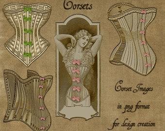 Vintage Corsets - Digital Scrapbooking and Paper Craft Images