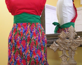 Virgen de Guadalupe Sweetheart Top Apron with Mexican Flag Ruffles and Red Fabric Rose