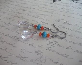 Boho style clear quartz drop earrings