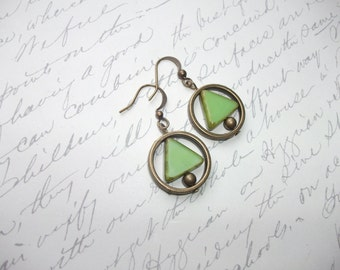 Antique brass green geometric earrings