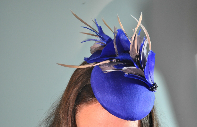 royal blue fascinator cocktail hat with royal blue and grey. Black Bedroom Furniture Sets. Home Design Ideas