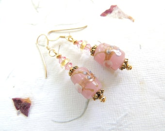 Pink Gold Glass Earrings, Pink Floral Earrings, Lampwork Bead Earrings, Wedding Earrings, Bridal Earrings, Gold Filled Earrings