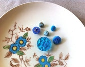 Vintage glass button lot blue glass button collection - CatandtheBird