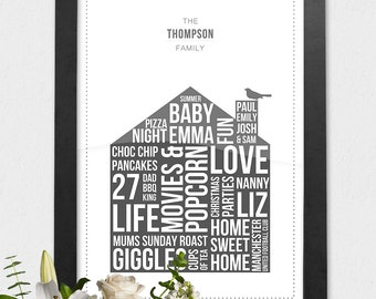 Personalised Family Home Print, Custom Our Home Poster, Framed A3 House Print