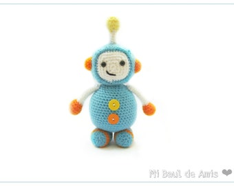 Crochet Robot Amigurumi Doll - Stuffed Toy - Baby Gift MADE TO ORDER