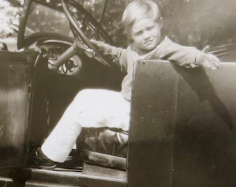How Do You Like My New Car - 1920's Little Boy Big Car Snapshot Photo - Free Shipping