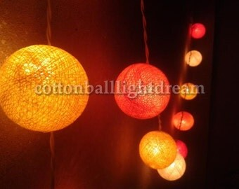 20 Orange tone cotton ball String Lights Lanterns night light party light