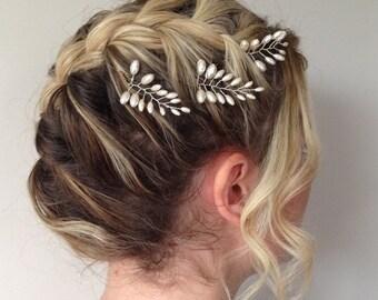 Fern Leaf Pearl Hair Pins,Fern Leaf Bridal Hair Pins, Wedding Hair Accessories, Bridal Headpiece, Set of Three