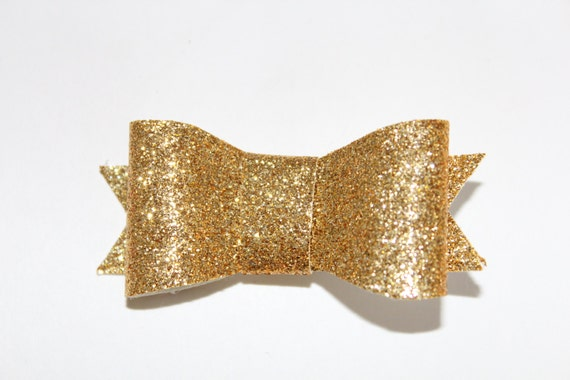 Hair Bow, Gold Glitter Fabric on Alligator Clip