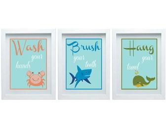 Bathroom Rules Art Bathroom Wall Art Crab Shark Whale Decor Orange Blue Green