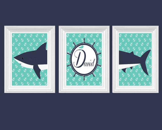 Navy Blue Wall Decor Nursery : Shark nursery decor personalized name turquoise navy blue wall