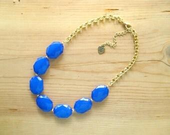 Cobalt Blue Statement Necklace, Royal blue single strand necklace, Dark blue necklace