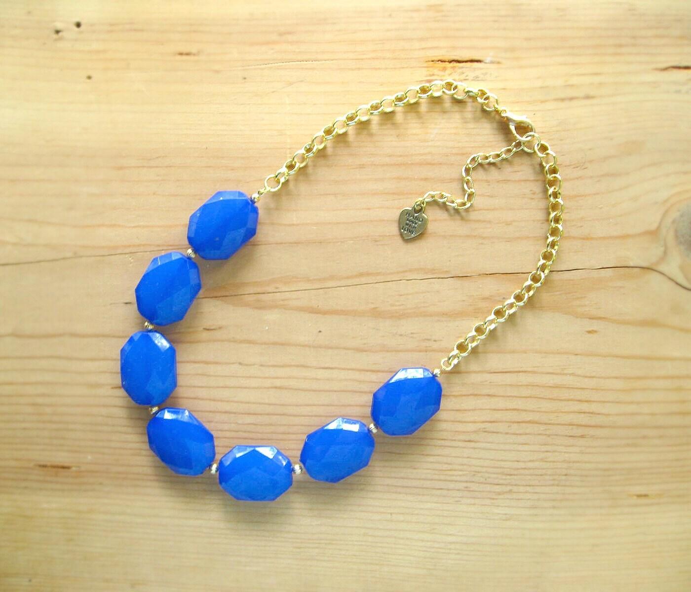 cobalt blue statement necklace royal blue single strand