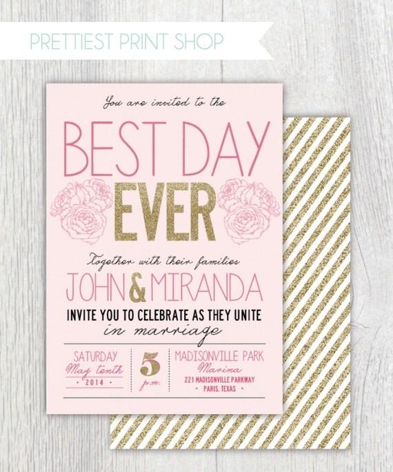 Best Wedding Invitations: Printable Wedding Invitation Best Day Ever Gold Glitter