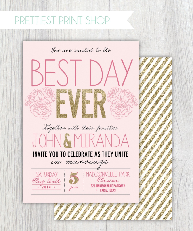 Best Wedding Invites Online: Printable Wedding Invitation Best Day Ever Gold Glitter