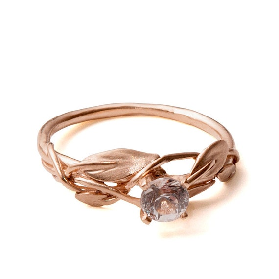 Wedding Ring With Leaves Diamond In A Rose