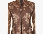 Cashmere Short Nehru Jacket in Chocolate