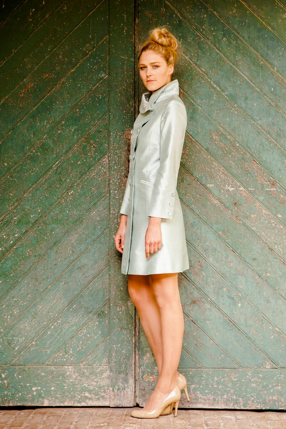 Silk Delphine Coat in Mint Ice