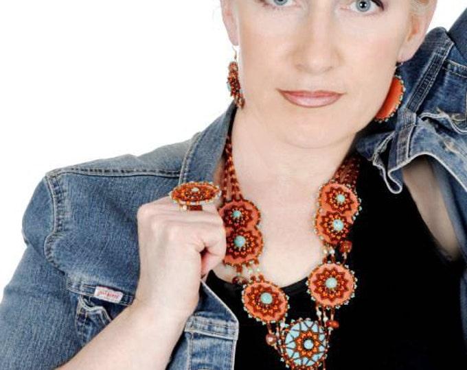 "Ethnic jewelry, 3 PCs. Jewelry set mandala jewelry ""Beautiful gate"", necklace, chain, pendant, necklace, earrings, ring,"