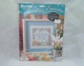 Vintage Bucilla kit Stamped Ribbon Embroidery Wedding save the date sewing pattern craft project gift personalized