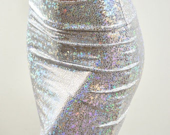 """Silver & White Shattered Glass Metallic 16"""" Bodycon Skirt made from Holographic Lycra Spandex Clubwear -E7478"""