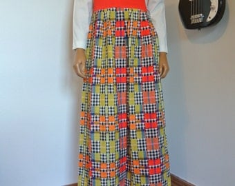 Vintage 1970s Shady Lane by Jonathan Logan Maxi Hippie Boho Patchwork Checker Dress Bright Plaid / M