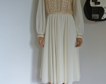 Vintage 1940s Custom Made Deco Chiffon Dress Gold Sequins & Ivory / S / M / Bridal Wedding