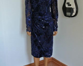 Victor Costa 1980s Dead Stock New with Tags Blue Chiffon Velvet Dress Royal Blue /L