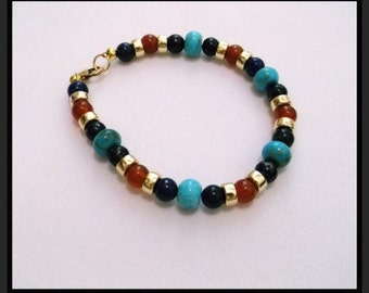 Natural Lapis Lazuli Carnelian Turquoise and Gold 7.5 inch Bracelet  One of a Kind