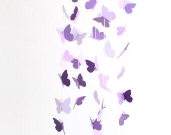 Purple Butterfly Mobile Baby Girl Nursery Crib Lavender Lilac