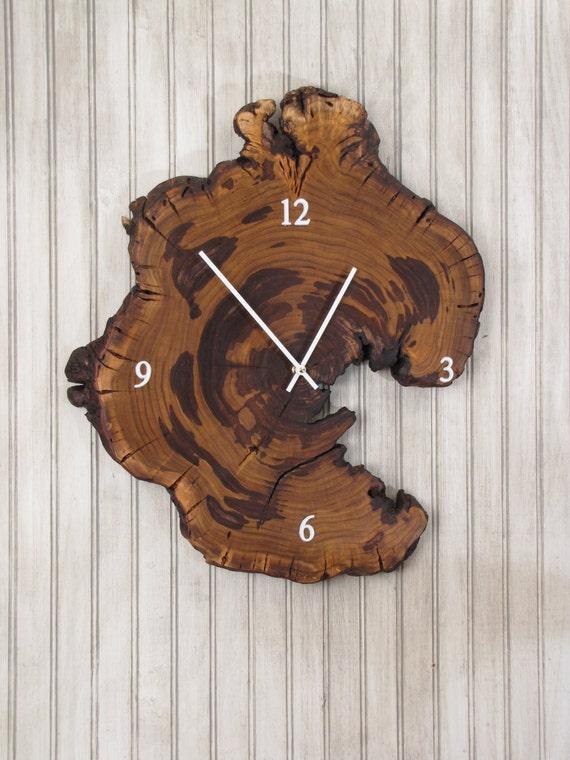 Redbud Wood Clock Live Edge Reclaimed Tree Slice