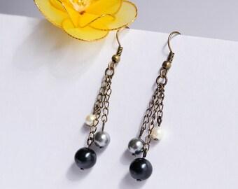 Black Pearl Ombre Gradient Dangle Earrings