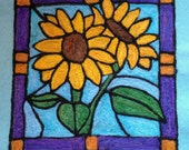 Needle felting KIT - stained glass fiber painting sunflowers