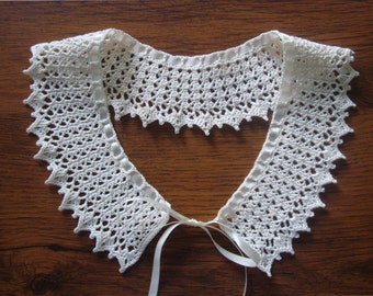 Crochet Collar Necklace with Adjustable Satin Ribbon, Handmade, Detachable | Women's Fashion and Accessories