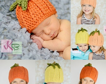 Crochet PATTERN Pumpkin Squash Gourd Hat Photography Prop