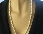Vintage Pearl Necklace, Delicate, Luminous Champagne Color, Silver Decorative Clasp, Bridal, Hand Knotted