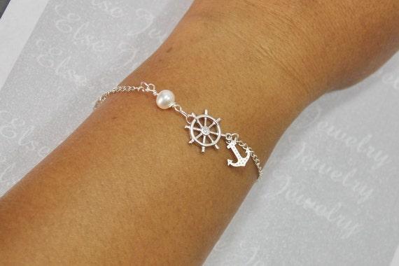 Nautique bateau volant bracelet argent navire par elsejewelry - Bracelet couple ancre ...
