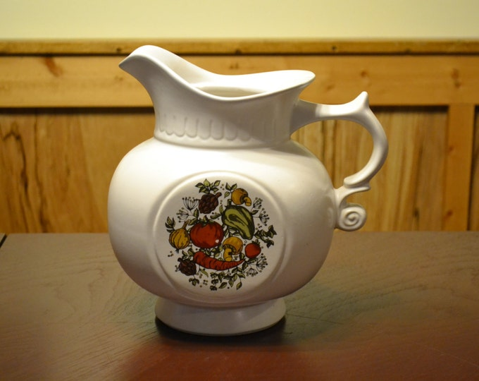 DEAL OF WEEK Vintage Spice Delight McCoy Pitcher Cookie Jar 202 White Ironstone Pottery PanchosPorch
