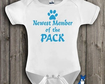 Handmade baby clothing, newest member of the pack, new baby gift, cute baby, bodysuit, by BlueFoxApparel *022