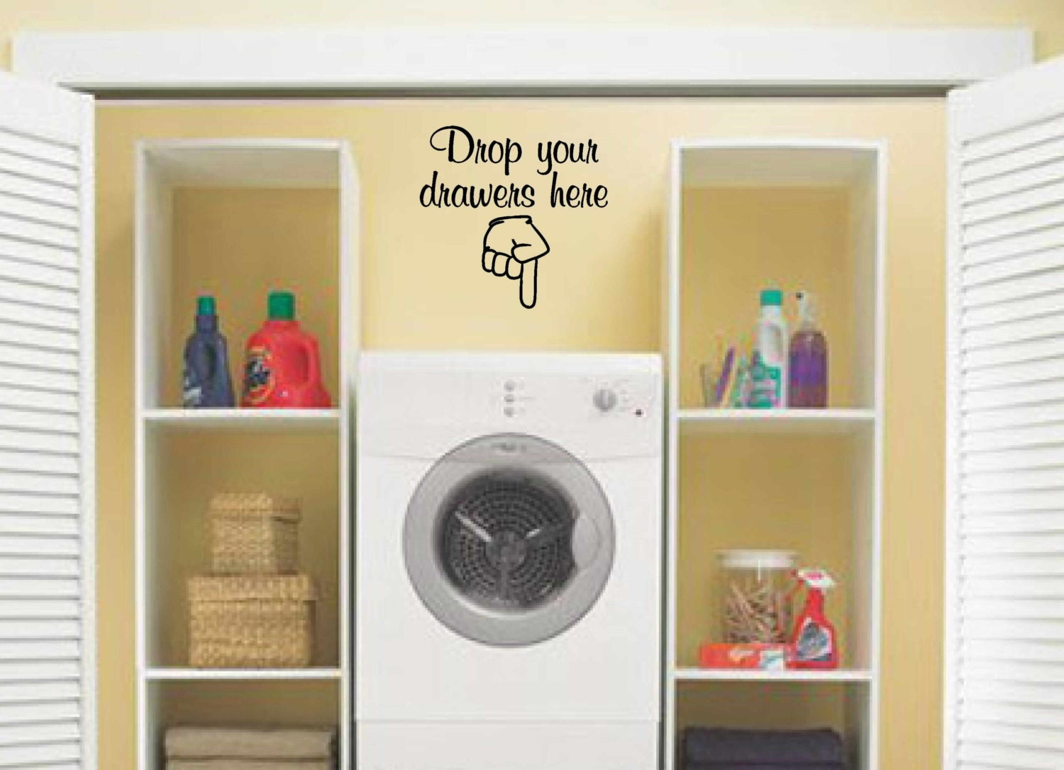Laundry room decor wall art vinyl decal drop your for Laundry room wall art