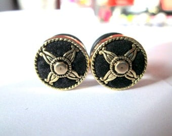 Clearance Sale - Gold with Black Velvet Fancy Plugs - Available in 00g, 1/2 in, and 9/16 in.
