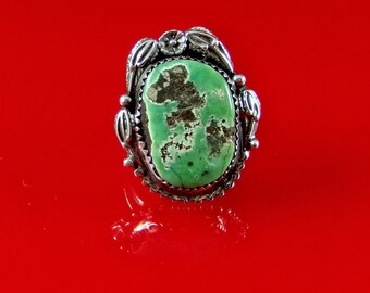 Natural Turquoise Ring Sterling Silver Handmade Size 8.75, R0152