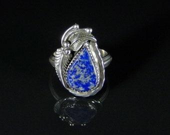 Women's Lapis Ring; Sterling Silver, Handmade, Size 6.5, #R0253