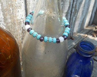 Turquoise, Lavender and white jade beaded bracelet