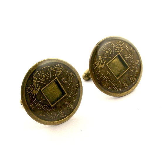 Dragon cufflinks chinese coin cufflinks feng shui by steamsect - Feng shui good luck coins ...