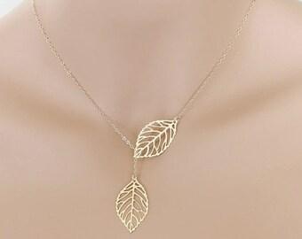 Gold Leaf Lariat Necklace - Adjustable